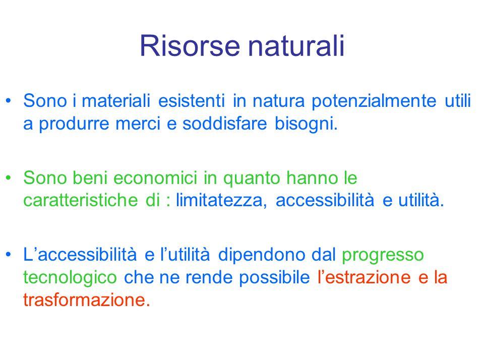 Risorse naturali Sono i materiali esistenti in natura potenzialmente utili a produrre merci e soddisfare bisogni. Sono beni economici in quanto hanno