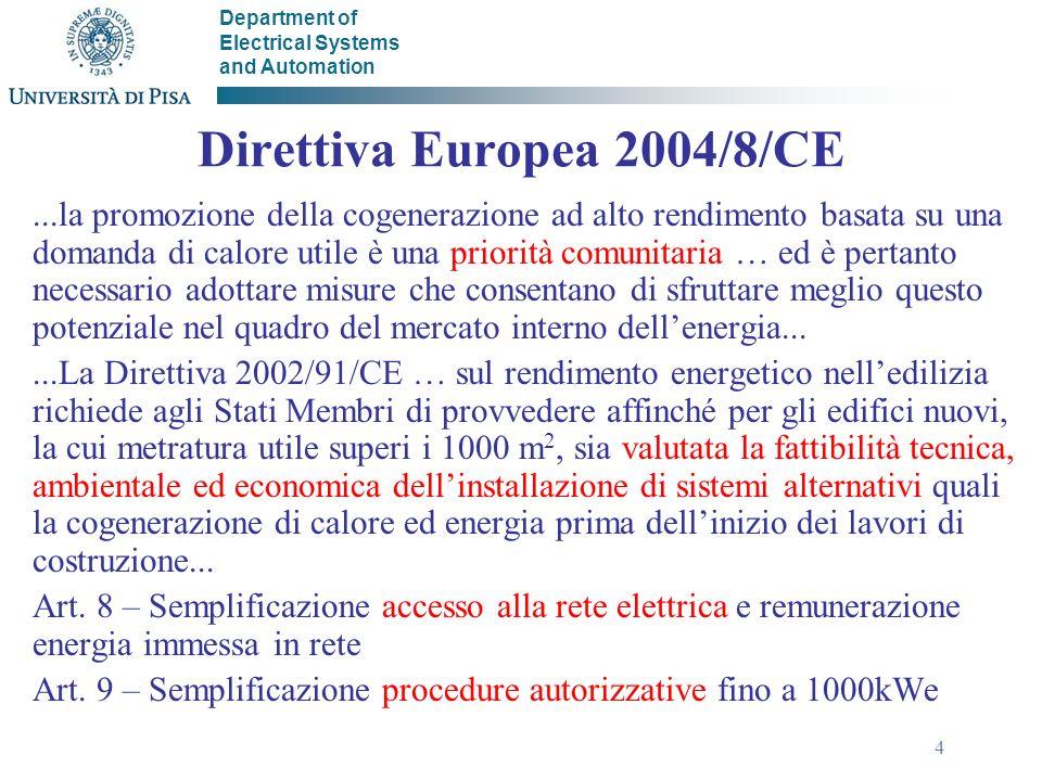 Department of Electrical Systems and Automation 4 Direttiva Europea 2004/8/CE...la promozione della cogenerazione ad alto rendimento basata su una domanda di calore utile è una priorità comunitaria … ed è pertanto necessario adottare misure che consentano di sfruttare meglio questo potenziale nel quadro del mercato interno dellenergia......La Direttiva 2002/91/CE … sul rendimento energetico nelledilizia richiede agli Stati Membri di provvedere affinché per gli edifici nuovi, la cui metratura utile superi i 1000 m 2, sia valutata la fattibilità tecnica, ambientale ed economica dellinstallazione di sistemi alternativi quali la cogenerazione di calore ed energia prima dellinizio dei lavori di costruzione...