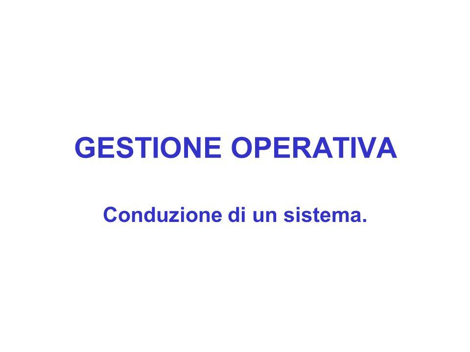 GESTIONE OPERATIVA Conduzione di un sistema.
