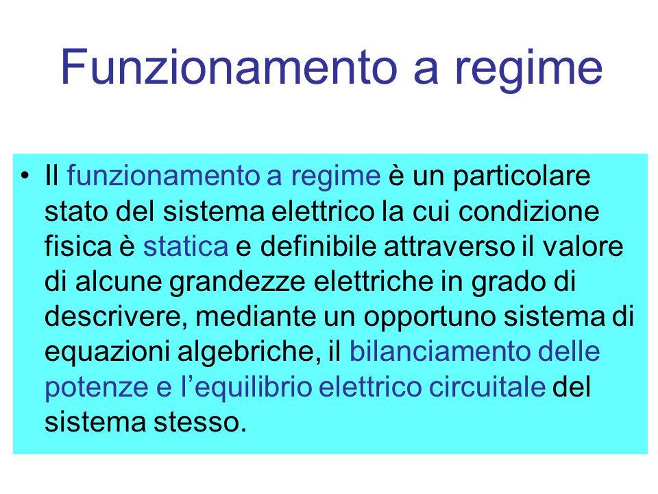Funzionamento a regime Il funzionamento a regime è un particolare stato del sistema elettrico la cui condizione fisica è statica e definibile attraverso il valore di alcune grandezze elettriche in grado di descrivere, mediante un opportuno sistema di equazioni algebriche, il bilanciamento delle potenze e lequilibrio elettrico circuitale del sistema stesso.