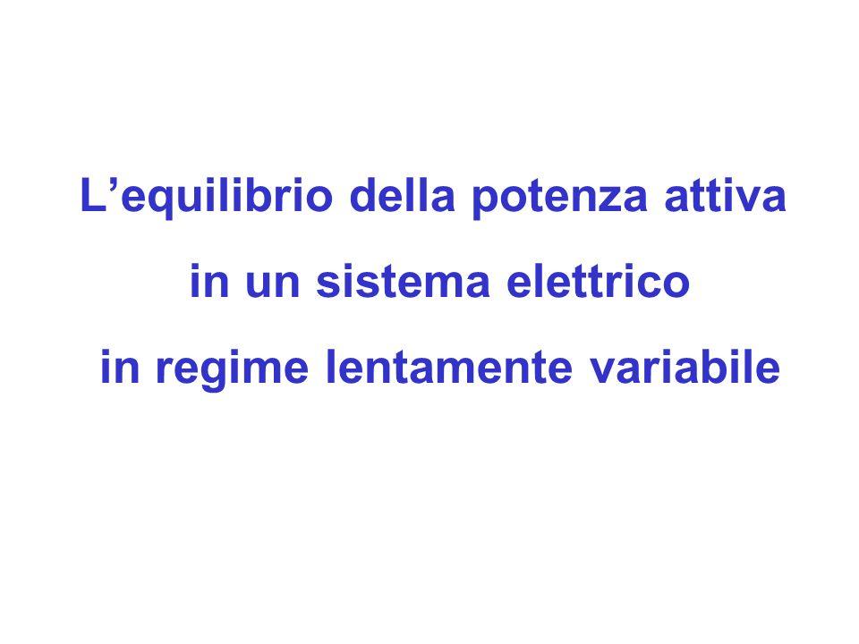 Lequilibrio della potenza attiva in un sistema elettrico in regime lentamente variabile