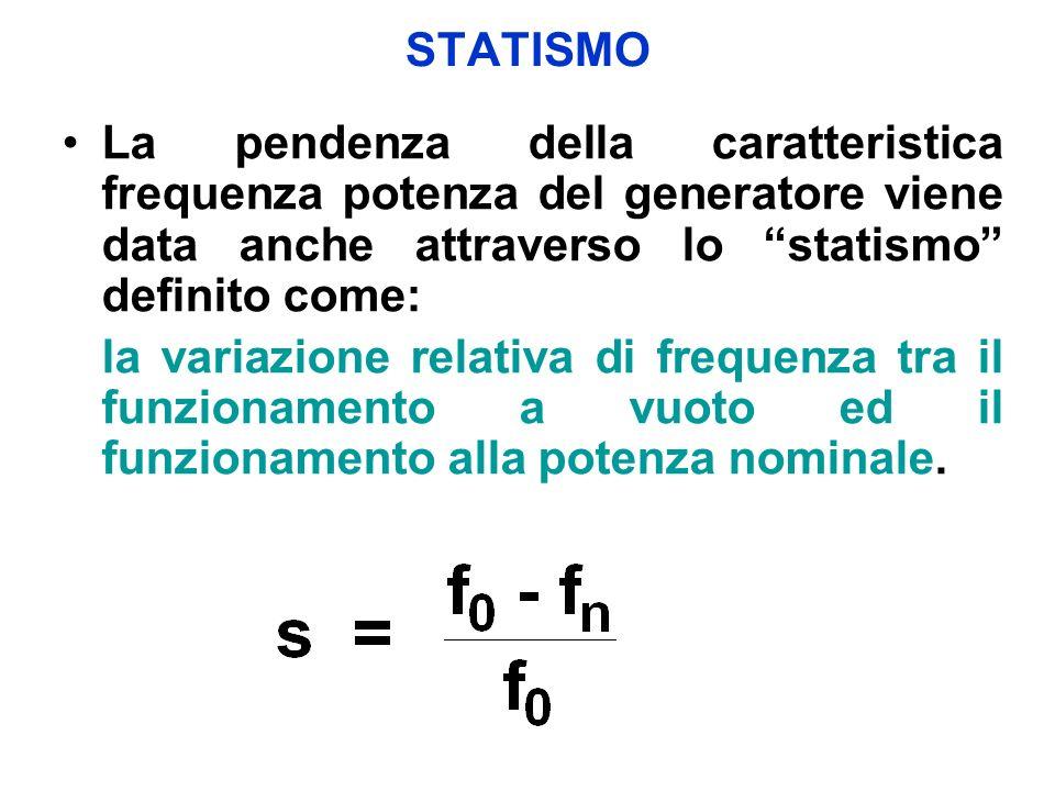 STATISMO La pendenza della caratteristica frequenza potenza del generatore viene data anche attraverso lo statismo definito come: la variazione relativa di frequenza tra il funzionamento a vuoto ed il funzionamento alla potenza nominale.
