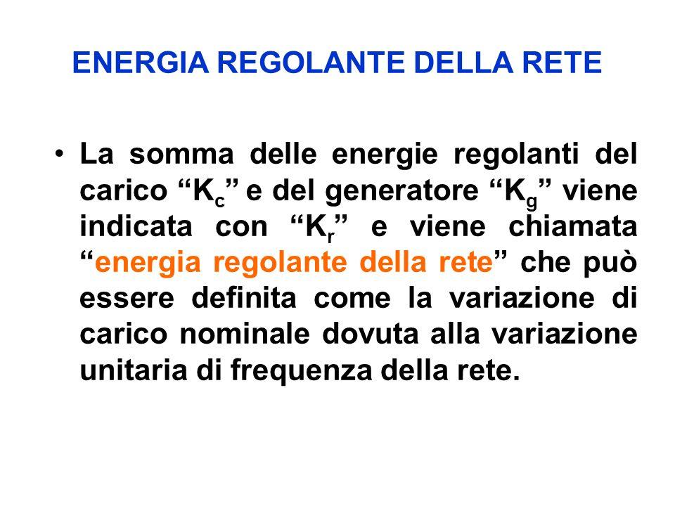 ENERGIA REGOLANTE DELLA RETE La somma delle energie regolanti del carico K c e del generatore K g viene indicata con K r e viene chiamataenergia regolante della rete che può essere definita come la variazione di carico nominale dovuta alla variazione unitaria di frequenza della rete.