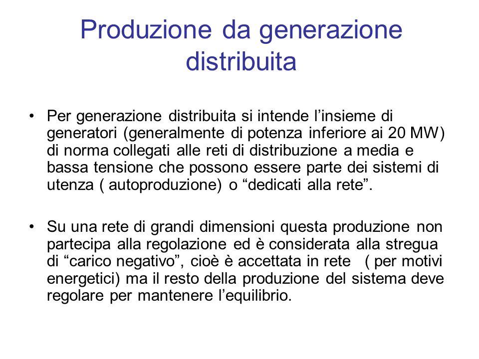 Produzione da generazione distribuita Per generazione distribuita si intende linsieme di generatori (generalmente di potenza inferiore ai 20 MW) di no