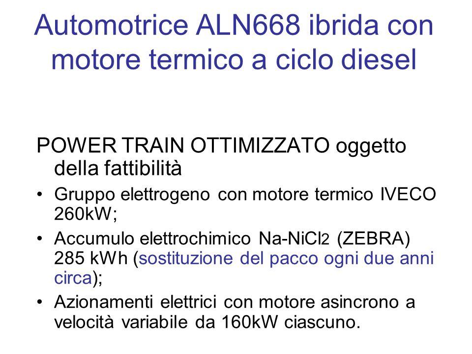 Automotrice ALN668 ibrida con motore termico a ciclo diesel POWER TRAIN OTTIMIZZATO oggetto della fattibilità Gruppo elettrogeno con motore termico IVECO 260kW; Accumulo elettrochimico Na-NiCl 2 (ZEBRA) 285 kWh (sostituzione del pacco ogni due anni circa); Azionamenti elettrici con motore asincrono a velocità variabile da 160kW ciascuno.