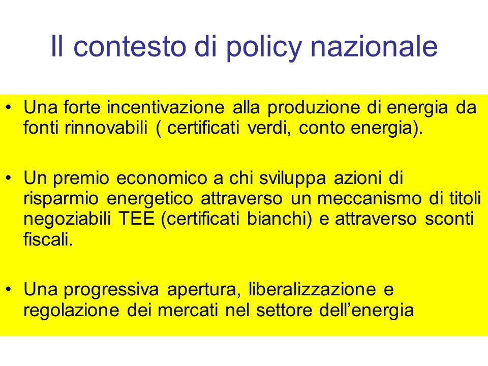 Il contesto di policy nazionale Una forte incentivazione alla produzione di energia da fonti rinnovabili ( certificati verdi, conto energia). Un premi