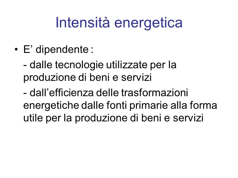Intensità energetica E dipendente : - dalle tecnologie utilizzate per la produzione di beni e servizi - dallefficienza delle trasformazioni energetich