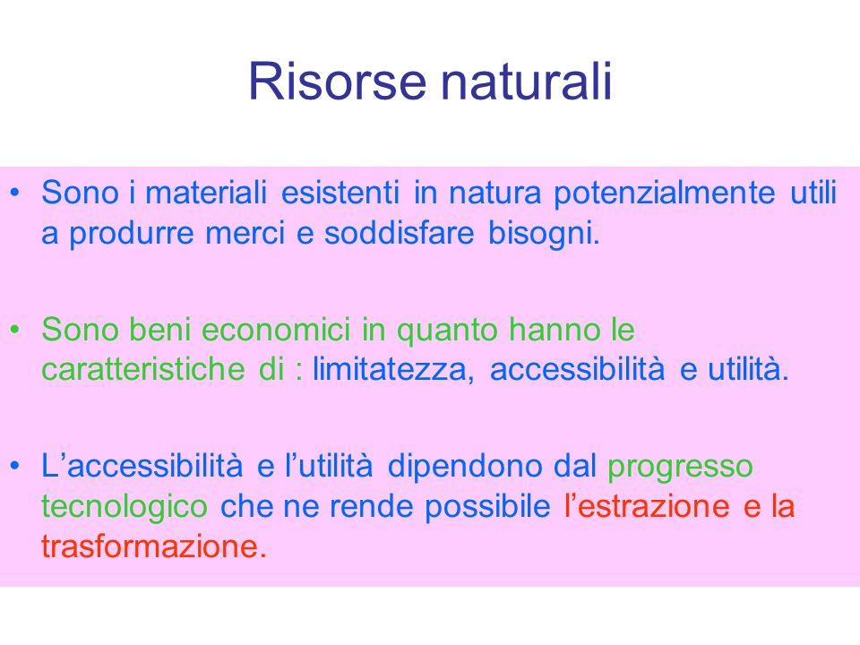 Variabilità delle risorse nel tempo Modifica delle necessità umane che portano a valutare diversamente le risorse.