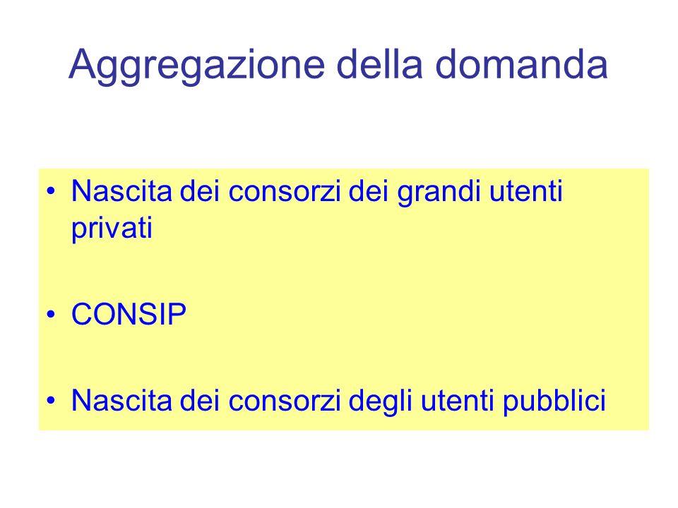 Aggregazione della domanda Nascita dei consorzi dei grandi utenti privati CONSIP Nascita dei consorzi degli utenti pubblici