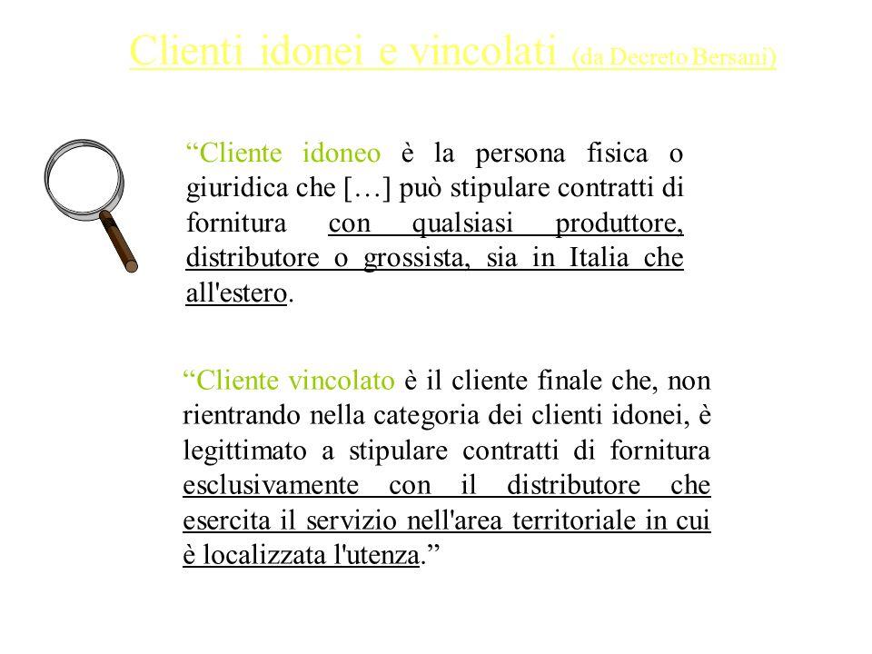 Cliente idoneo è la persona fisica o giuridica che […] può stipulare contratti di fornitura con qualsiasi produttore, distributore o grossista, sia in Italia che all estero.