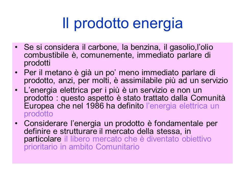 Il prodotto energia Se si considera il carbone, la benzina, il gasolio,lolio combustibile è, comunemente, immediato parlare di prodotti Per il metano è già un po meno immediato parlare di prodotto, anzi, per molti, è assimilabile più ad un servizio Lenergia elettrica per i più è un servizio e non un prodotto : questo aspetto è stato trattato dalla Comunità Europea che nel 1986 ha definito lenergia elettrica un prodotto Considerare lenergia un prodotto è fondamentale per definire e strutturare il mercato della stessa, in particolare il libero mercato che è diventato obiettivo prioritario in ambito Comunitario