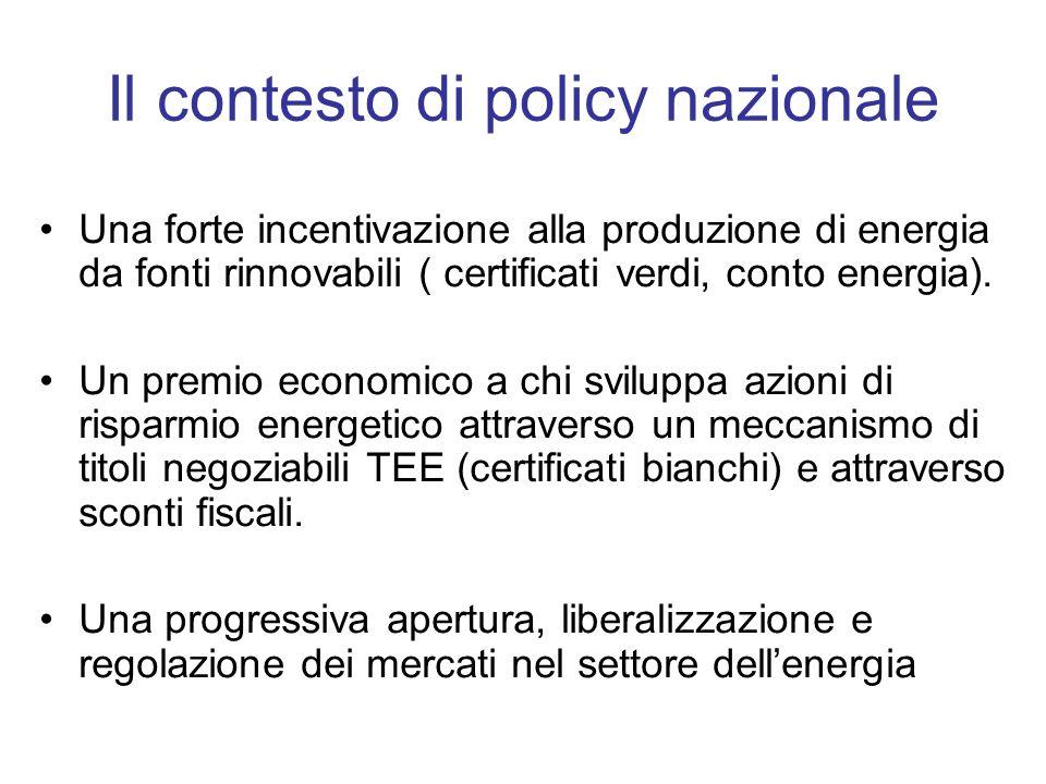 Il contesto di policy nazionale Una forte incentivazione alla produzione di energia da fonti rinnovabili ( certificati verdi, conto energia).