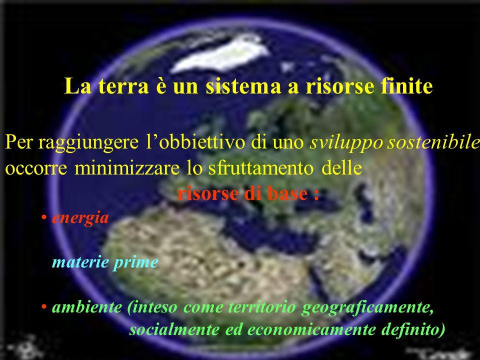 La terra è un sistema a risorse finite Per raggiungere lobbiettivo di uno sviluppo sostenibile occorre minimizzare lo sfruttamento delle risorse di base : energia materie prime ambiente (inteso come territorio geograficamente, socialmente ed economicamente definito)