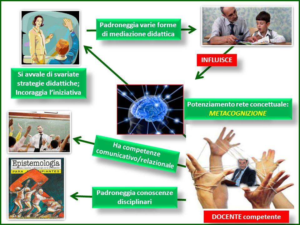 Padroneggia conoscenze disciplinari Ha competenze comunicativo/relazionale Si avvale di svariate strategie didattiche; Incoraggia liniziativa Si avvale di svariate strategie didattiche; Incoraggia liniziativa Padroneggia varie forme di mediazione didattica Potenziamento rete concettuale: METACOGNIZIONE DOCENTE competente INFLUISCE