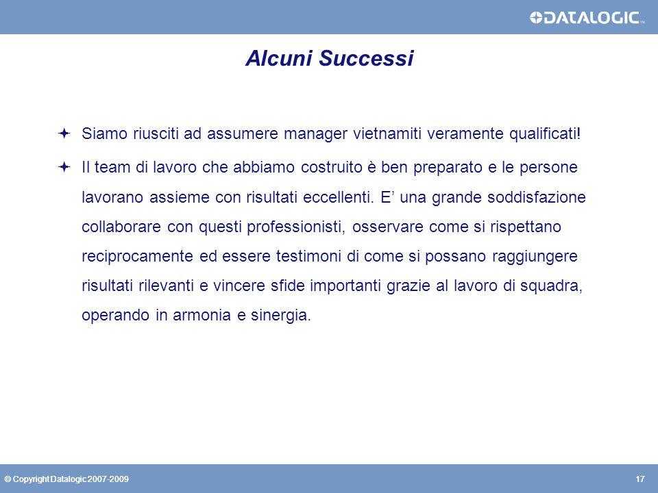 17© Copyright Datalogic 2007-200917© Copyright Datalogic 2007-2009 Alcuni Successi Siamo riusciti ad assumere manager vietnamiti veramente qualificati