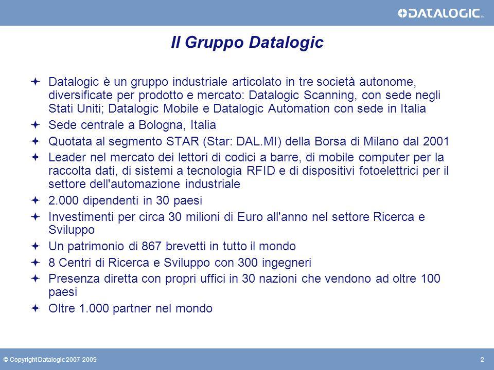 2© Copyright Datalogic 2007-2009 Il Gruppo Datalogic Datalogic è un gruppo industriale articolato in tre società autonome, diversificate per prodotto