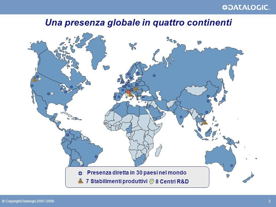 14© Copyright Datalogic 2007-200914© Copyright Datalogic 2007-2009 Importanti sfide future Sviluppare prodotti innovativi per il mercato emergente dellarea Asia- Pacific.