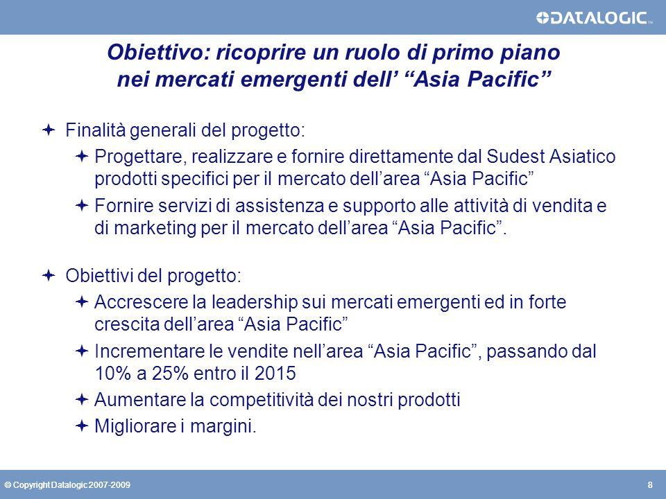 8© Copyright Datalogic 2007-20098 Obiettivo: ricoprire un ruolo di primo piano nei mercati emergenti dell Asia Pacific Finalità generali del progetto: