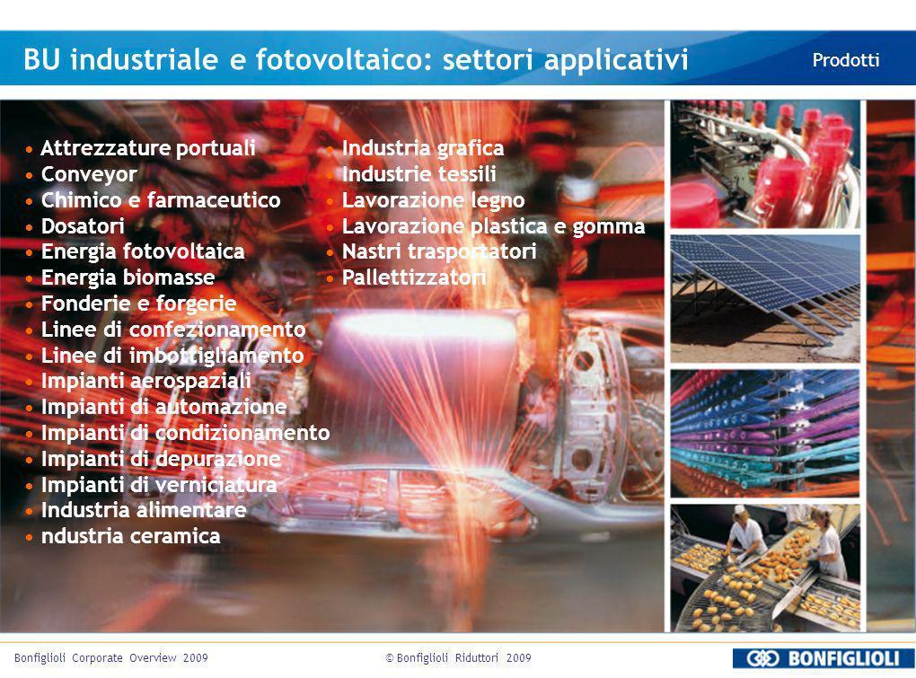© Bonfiglioli Riduttori 2009Bonfiglioli Corporate Overview 2009 BU industriale e fotovoltaico: settori applicativi Prodotti Attrezzature portuali Conv