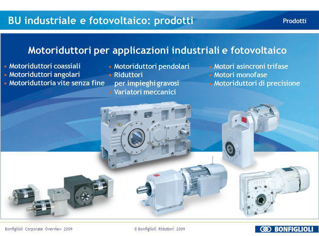 © Bonfiglioli Riduttori 2009Bonfiglioli Corporate Overview 2009 BU industriale e fotovoltaico: prodotti Prodotti Motoriduttori per applicazioni indust
