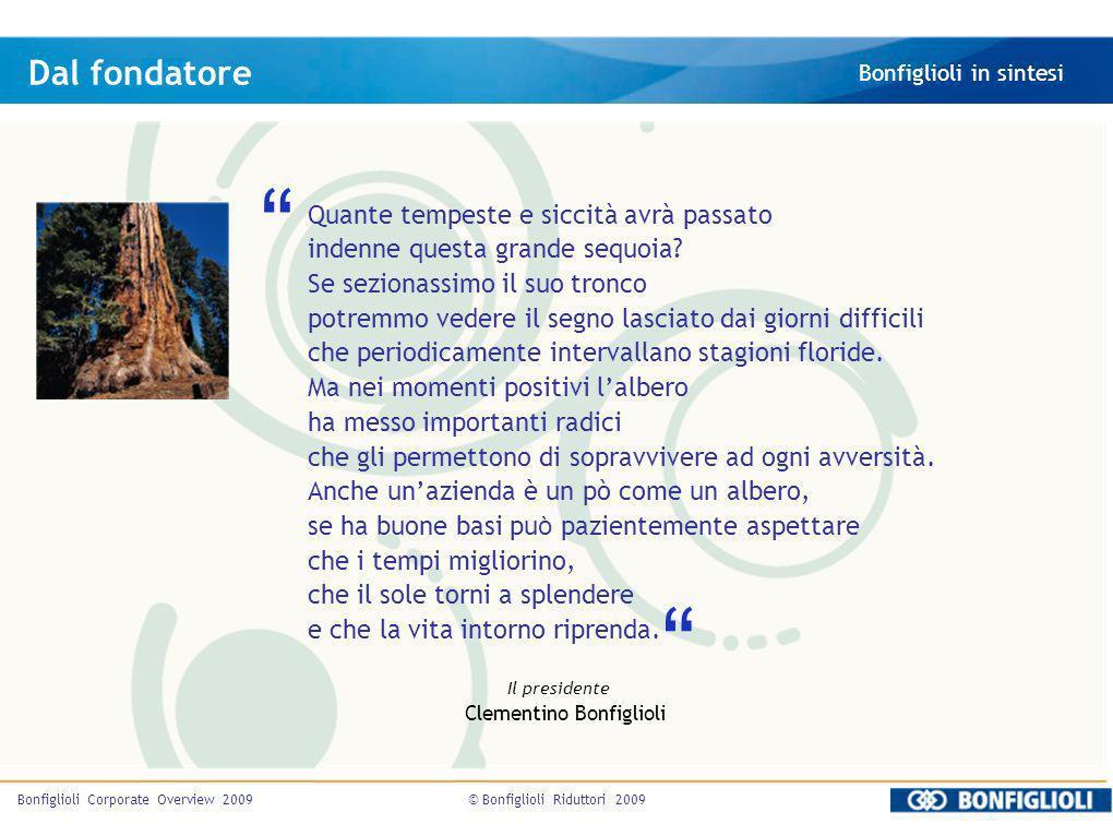 © Bonfiglioli Riduttori 2009Bonfiglioli Corporate Overview 2009 Quante tempeste e siccità avrà passato indenne questa grande sequoia? Se sezionassimo
