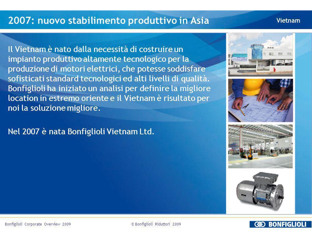 © Bonfiglioli Riduttori 2009Bonfiglioli Corporate Overview 2009 2007: nuovo stabilimento produttivo in Asia Vietnam Il Vietnam è nato dalla necessità di costruire un impianto produttivo altamente tecnologico per la produzione di motori elettrici, che potesse soddisfare sofisticati standard tecnologici ed alti livelli di qualità.