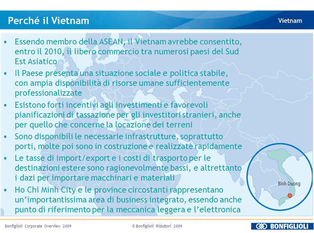 © Bonfiglioli Riduttori 2009Bonfiglioli Corporate Overview 2009 Perché il Vietnam Vietnam Essendo membro della ASEAN, il Vietnam avrebbe consentito, e