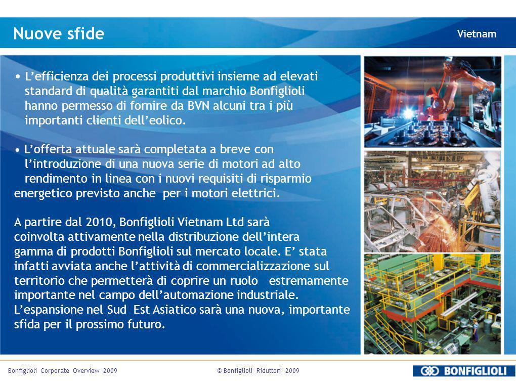 © Bonfiglioli Riduttori 2009Bonfiglioli Corporate Overview 2009 Nuove sfide Vietnam Lefficienza dei processi produttivi insieme ad elevati standard di