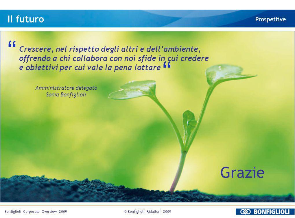 © Bonfiglioli Riduttori 2009Bonfiglioli Corporate Overview 2009 Il futuro Prospettive Crescere, nel rispetto degli altri e dellambiente, offrendo a ch