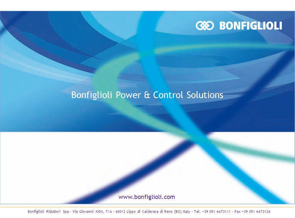 www.bonfiglioli.com Bonfiglioli Power & Control Solutions Bonfiglioli Riduttori Spa - Via Giovanni XXIII, 7/A - 40012 Lippo di Calderara di Reno (BO)