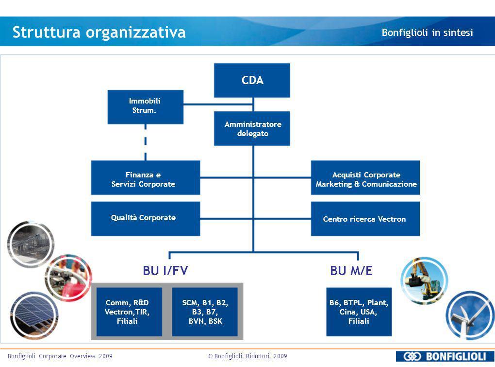 © Bonfiglioli Riduttori 2009Bonfiglioli Corporate Overview 2009 Struttura organizzativa Bonfiglioli in sintesi CDA Immobili Strum. Amministratore dele