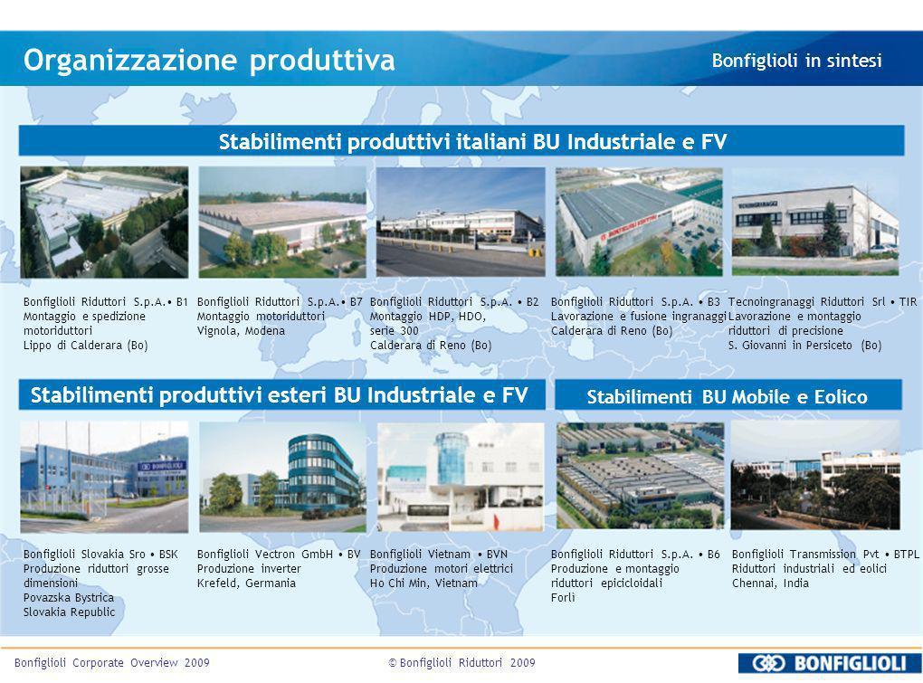 © Bonfiglioli Riduttori 2009Bonfiglioli Corporate Overview 2009 Organizzazione produttiva Bonfiglioli in sintesi Bonfiglioli Riduttori S.p.A. B1 Monta