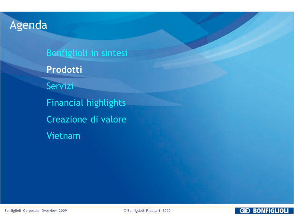 © Bonfiglioli Riduttori 2009Bonfiglioli Corporate Overview 2009 Agenda Bonfiglioli in sintesi Prodotti Servizi Financial highlights Creazione di valor
