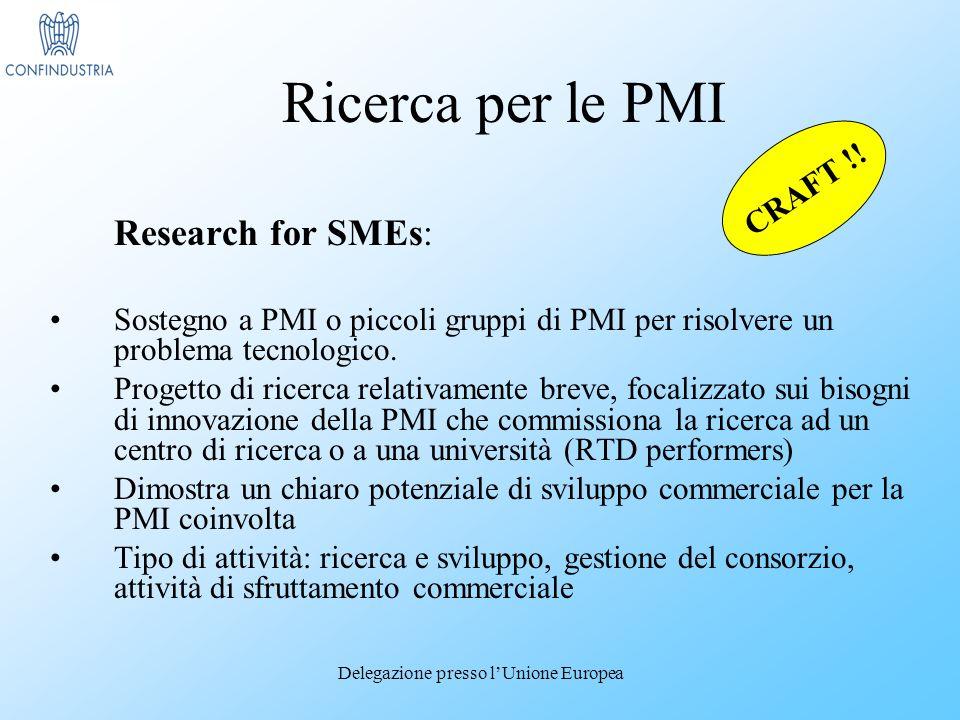 Delegazione presso lUnione Europea Research for SMEs: Sostegno a PMI o piccoli gruppi di PMI per risolvere un problema tecnologico.