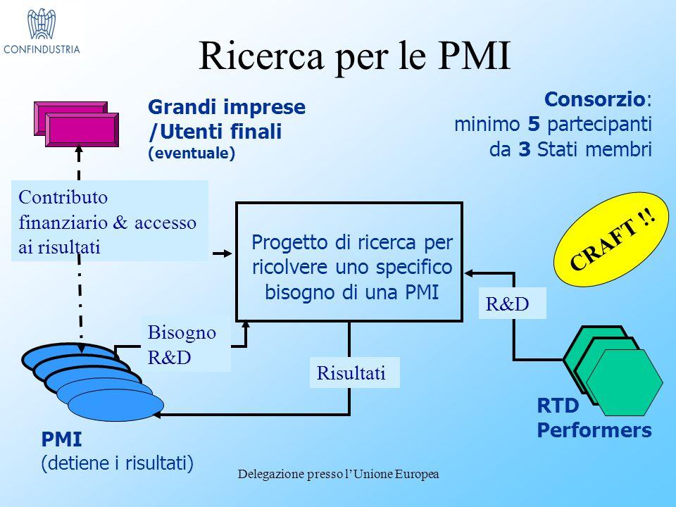 Delegazione presso lUnione Europea Grandi imprese /Utenti finali (eventuale) Progetto di ricerca per ricolvere uno specifico bisogno di una PMI RTD Performers PMI (detiene i risultati) Consorzio: minimo 5 partecipanti da 3 Stati membri Risultati Bisogno R&D R&D Contributo finanziario & accesso ai risultati CRAFT !.
