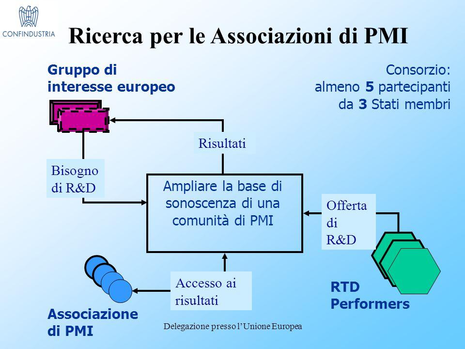 Delegazione presso lUnione Europea Gruppo di interesse europeo Ampliare la base di sonoscenza di una comunità di PMI Associazione di PMI RTD Performers Consorzio: almeno 5 partecipanti da 3 Stati membri Offerta di R&D Risultati Bisogno di R&D Accesso ai risultati Ricerca per le Associazioni di PMI