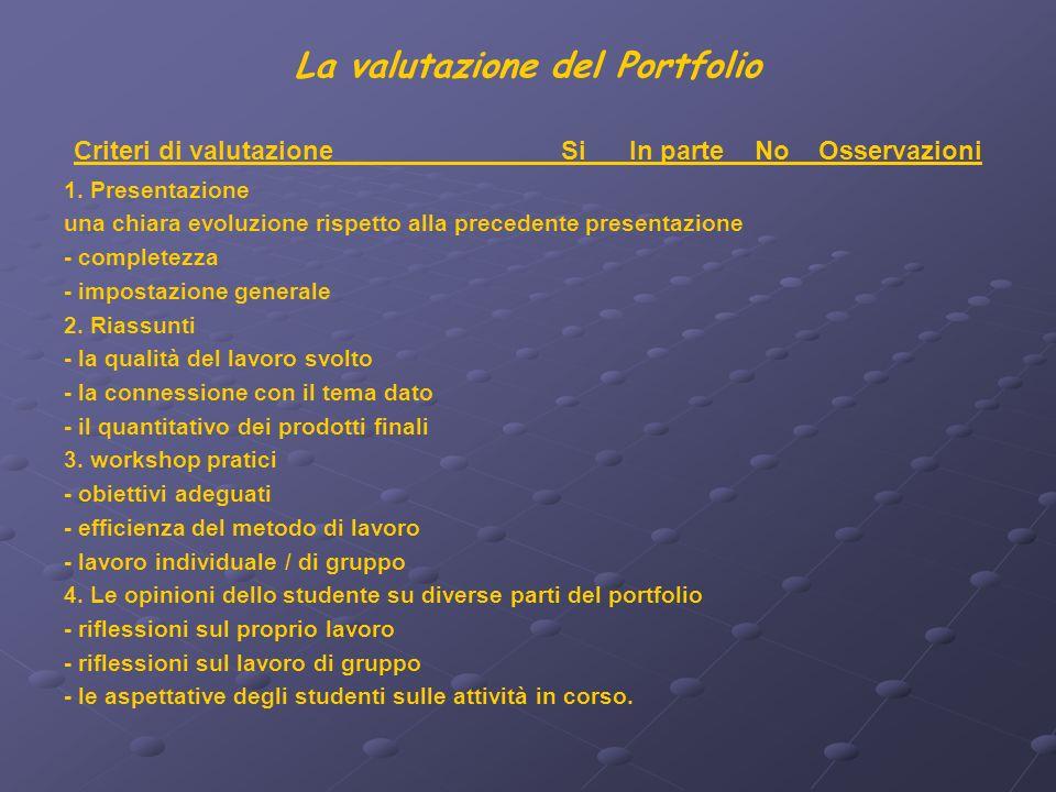 La valutazione del Portfolio Criteri di valutazione Si In parte No Osservazioni 1.