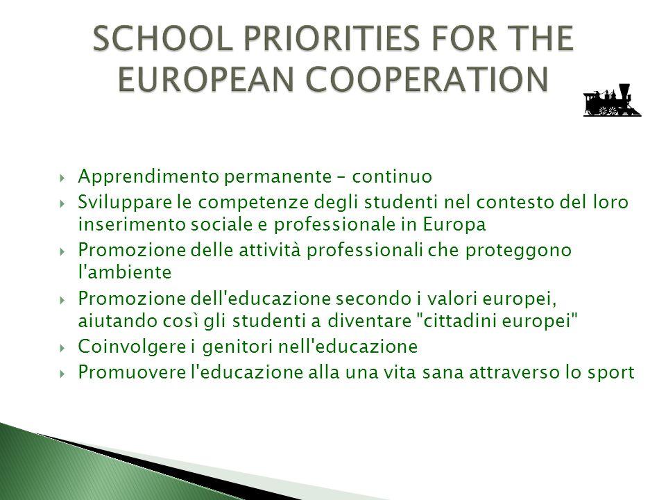 Apprendimento permanente – continuo Sviluppare le competenze degli studenti nel contesto del loro inserimento sociale e professionale in Europa Promoz