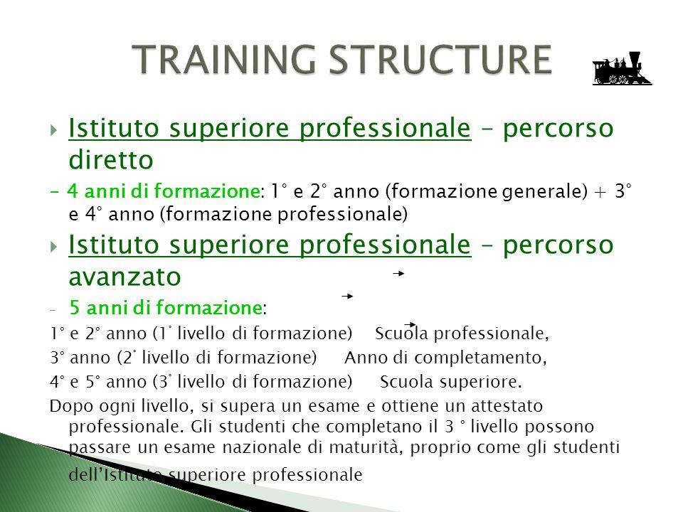Istituto superiore professionale – percorso diretto - 4 anni di formazione: 1° e 2° anno (formazione generale) + 3° e 4° anno (formazione professional