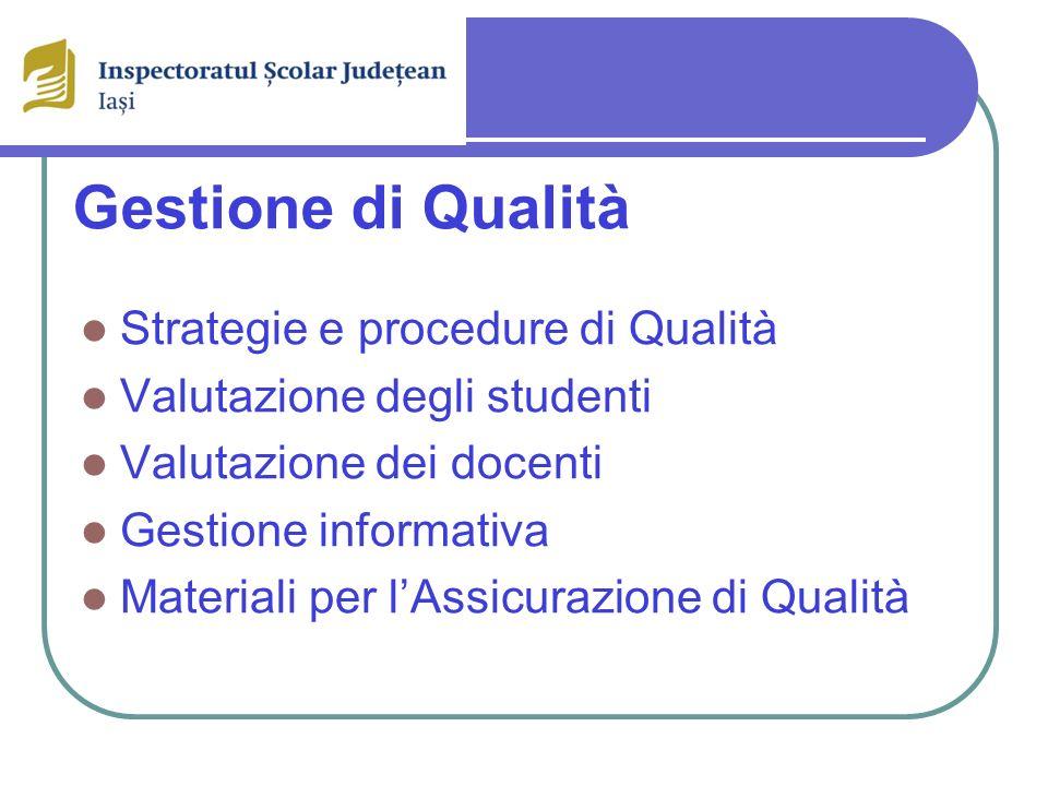 Gestione di Qualità Strategie e procedure di Qualità Valutazione degli studenti Valutazione dei docenti Gestione informativa Materiali per lAssicurazione di Qualità