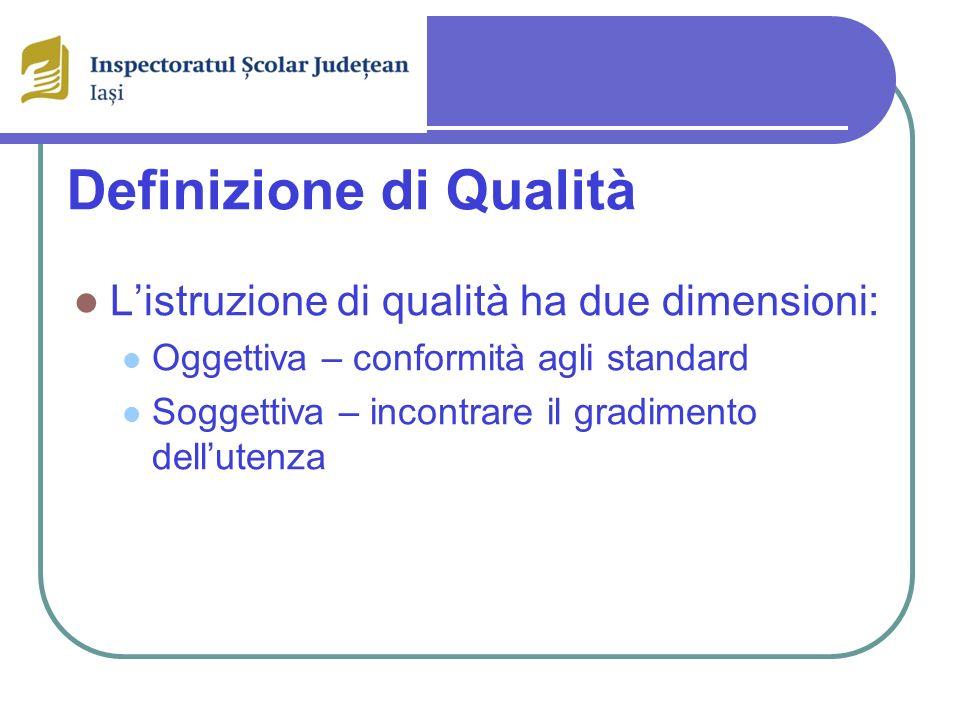 Definizione di Qualità Listruzione di qualità ha due dimensioni: Oggettiva – conformità agli standard Soggettiva – incontrare il gradimento dellutenza