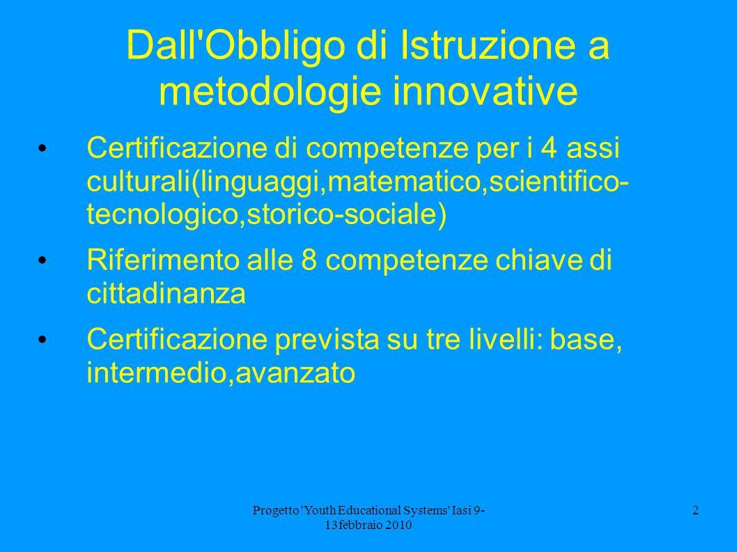 Progetto 'Youth Educational Systems' Iasi 9- 13febbraio 2010 2 Dall'Obbligo di Istruzione a metodologie innovative Certificazione di competenze per i