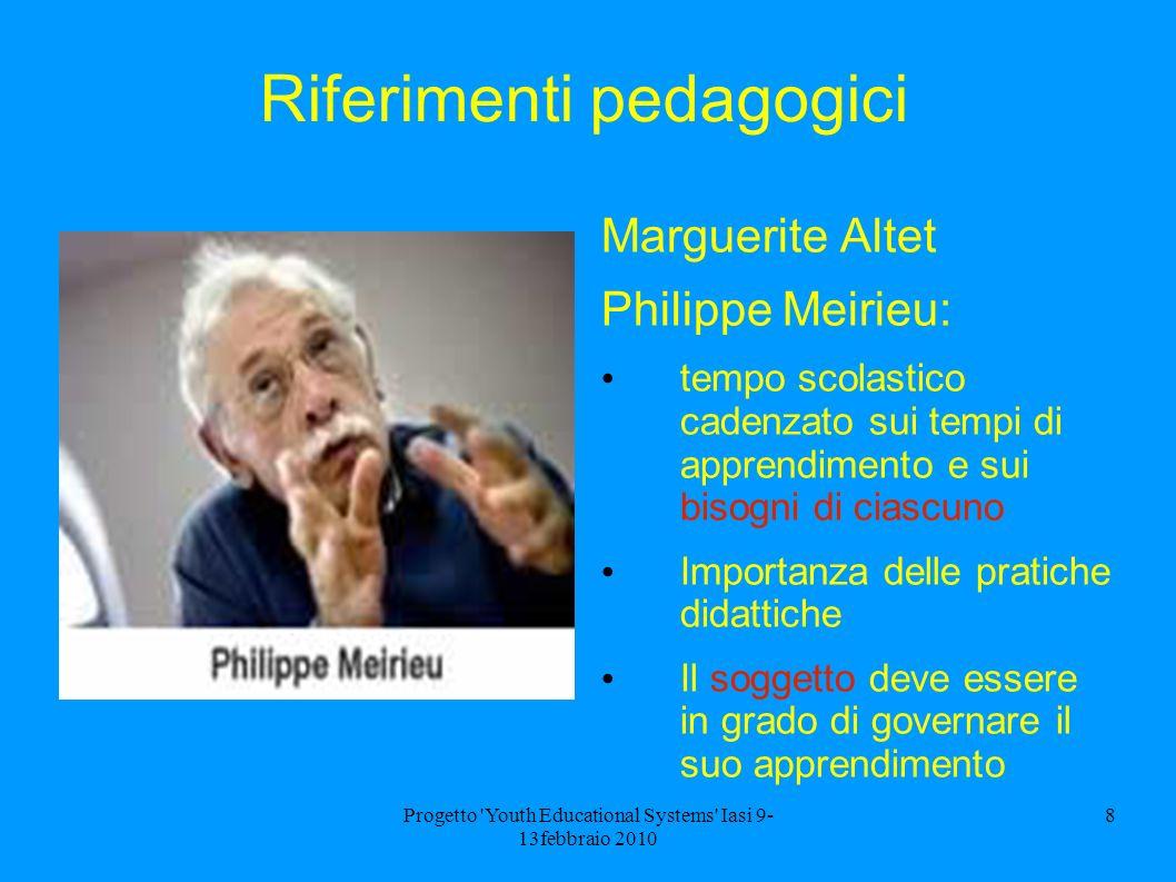 Progetto 'Youth Educational Systems' Iasi 9- 13febbraio 2010 8 Riferimenti pedagogici Marguerite Altet Philippe Meirieu: tempo scolastico cadenzato su