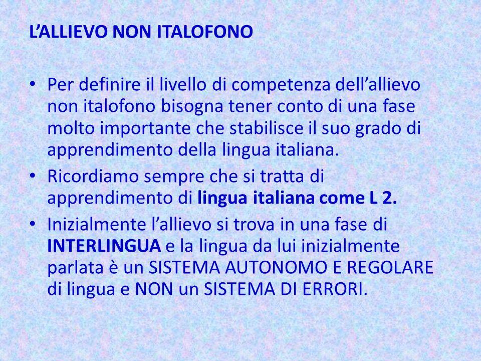 LALLIEVO NON ITALOFONO Per definire il livello di competenza dellallievo non italofono bisogna tener conto di una fase molto importante che stabilisce