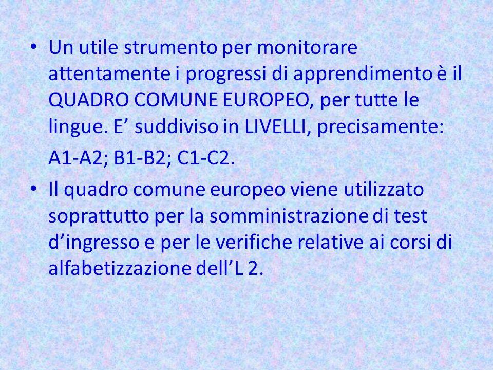 Un utile strumento per monitorare attentamente i progressi di apprendimento è il QUADRO COMUNE EUROPEO, per tutte le lingue. E suddiviso in LIVELLI, p