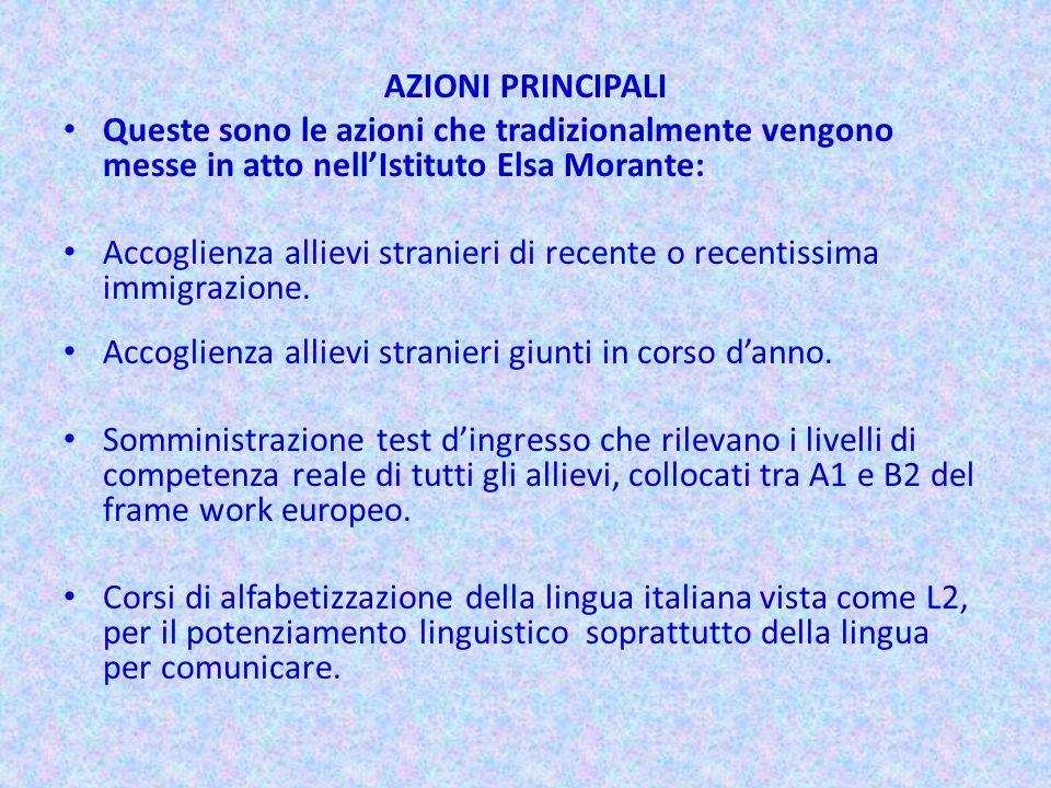 AZIONI PRINCIPALI Queste sono le azioni che tradizionalmente vengono messe in atto nellIstituto Elsa Morante: Accoglienza allievi stranieri di recente
