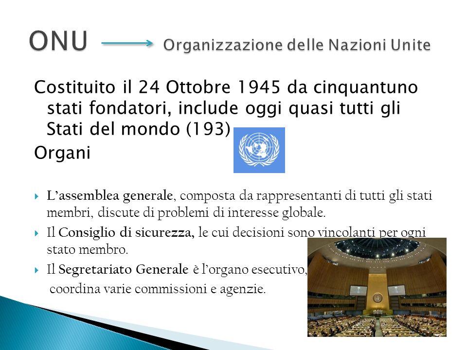 Costituito il 24 Ottobre 1945 da cinquantuno stati fondatori, include oggi quasi tutti gli Stati del mondo (193) Organi Lassemblea generale, composta da rappresentanti di tutti gli stati membri, discute di problemi di interesse globale.