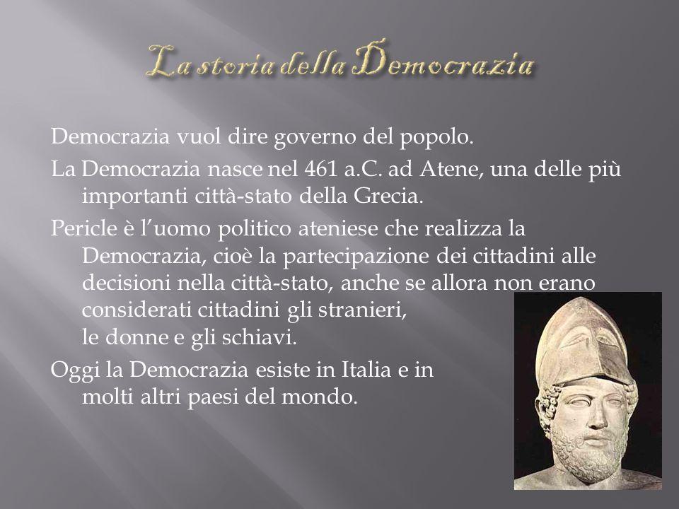 Democrazia vuol dire governo del popolo.La Democrazia nasce nel 461 a.C.