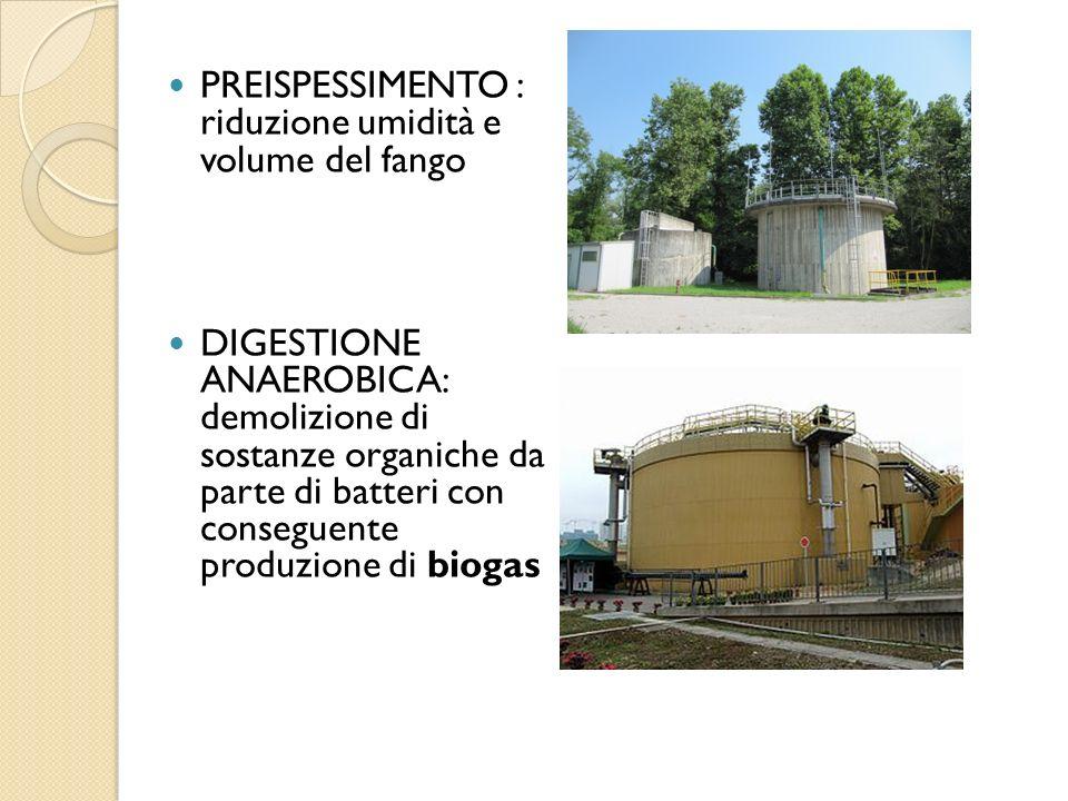 PREISPESSIMENTO : riduzione umidità e volume del fango DIGESTIONE ANAEROBICA: demolizione di sostanze organiche da parte di batteri con conseguente pr