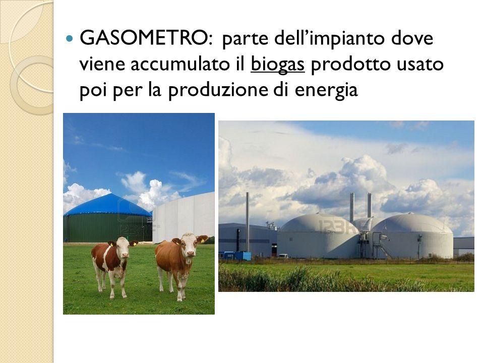 GASOMETRO: parte dellimpianto dove viene accumulato il biogas prodotto usato poi per la produzione di energia